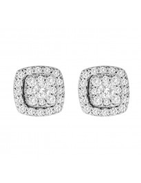 0.66ct Pave Diamond 14k White Gold Square Jacket Halo Stud Earrings