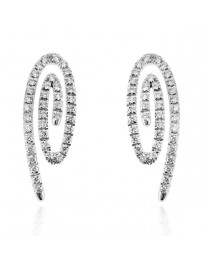 Piero Milano 1.12 Cttw G-H/VS Round Diamond 18k White Gold Swirl Earrings