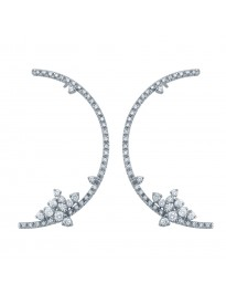 Piero Milano 1.35ct Pave G/VS Diamond 18K White Gold Crescent Drop Earrings