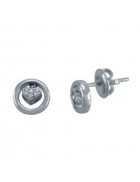 Piero Milano G/VS Diamond 18K White Gold Heart in a Circle Stud Earrings