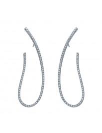 Piero Milano 1.03tt G-H/VS Diamond 18k White Gold Oval Drop Earrings