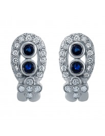 Martin Flyer 1.00ct Pave Diamond & Blue Sapphire Omega Earrings Retail $4950