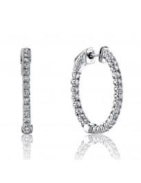 1.00 Cttw Round Diamond 18K White Gold Prong-Set Hoop Earrings Patented Lock