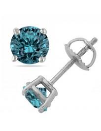 3/8ct Blue Round Diamond 14k White Gold Stud Earrings Screw Backs