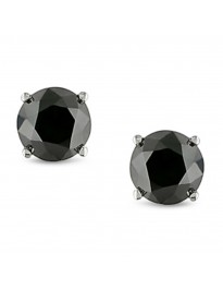 2.25ct Black Diamond 14k White Solid Gold Stud Earrings Screw Back