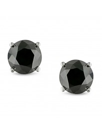 2.00ct Black Round Diamond 14k White Gold Stud Earrings Screw Back