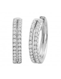 IGI Certified 0.50Ct 2 Row Round Diamond 14K White Gold Hoop Earrings