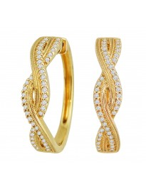 1/3ct Round Diamond 10K Yellow Gold Infinity Twist Hoop Milgrain Earrings