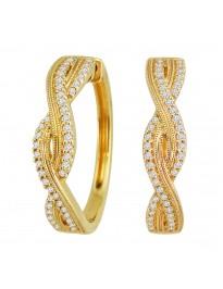 1/3ct Round Diamond 10K Yellow Gold Infinity Twist Hoop Milgrain Earrings