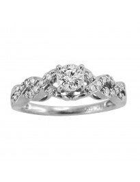 0.70ct Round H/SI Diamond 14k White Gold Infinity Engagement Ring