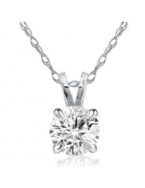 0.65Ct Round Natural Diamond 14K White Gold Solitaire Pendant Necklace
