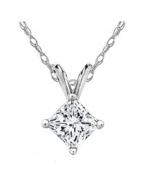 1/5ct Genuine Princess Cut Diamond 14K White Gold 0.20ct Solitaire Pendant Necklace
