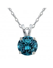 1/2ct Round Blue Diamond 14k White Gold 0.50ct Solitaire Pendant Necklace