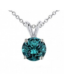 0.55ct Round Natural Blue Diamond 14k White Gold Solitaire Pendant Necklace