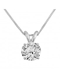0.63ct Round Natural H/I1 Diamond 14K White Gold Solitaire Pendant Necklace
