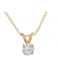 0.25ct Round Natural Diamond 14K Yellow Gold 1/4ct Solitaire Pendant Necklace