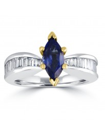 1.75ct Channel Baguette Diamond Marquise Tanzanite 18k TT Gold Solitaire Ring