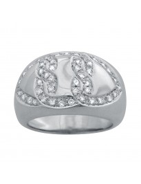 Piero Milano 0.45Ct Pave Diamond 18K White Gold Band Ring