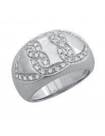 Piero Milano 0.45Ct Pave Diamond 18K White Gold Band Ring