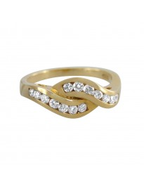 Piero Milano Channel Set 0.53Ct Diamond 18k Yellow Gold Swirl Ring