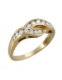 Piero Milano Channel Set 0.53Ct Diamond 18k Yellow Gold Swirl Ring