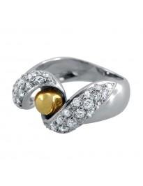 Piero Milano 1.15Ct Diamond 18K Two Tone Gold Spiral Fashion Ring