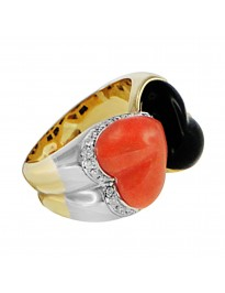 Piero Milano 6.70ct tw Diamond Coral & Onyx 18K Yellow Gold 2 Hearts Ring