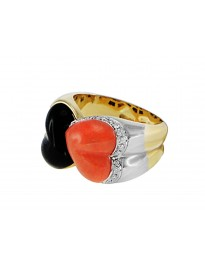 Piero Milano 6.70ct tw Diamond Coral & Onyx 18K Yellow Gold 2 Hearts Ring