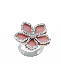 Piero Milano 0.64Ct Diamond 18K White Gold Fashion Pink Flower Enamel Ring