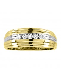 0.25Ct Channel Set Round Diamond 10K Yellow Gold Wedding Band Men's Ring