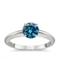 0.70ct Genuine Solitaire Round Blue Diamond 14k White Gold 4 Prong Classic Ring