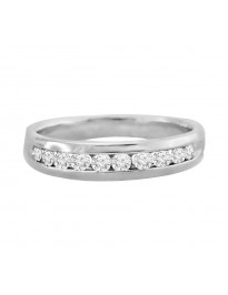 14k White Gold Mens Comfort Fit 1/2ct Round Diamond Channel Wedding Band Ring