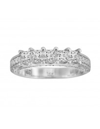 1.14ct Princess Cut H/SI Diamond 14k Gold 5 Stone Accent Wedding Band Ring