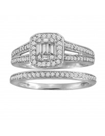 0.60ct Round & Baugette Diamond 14k Gold Engagement & Wedding Bridal Set Rings
