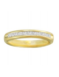 1/2ct Ladies Channel Set Princess Cut Diamond 14k Yellow Gold Wedding Band Ring