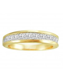 1.00ct Ladies Channel Set Princess Cut Diamond 14k Yellow Gold Wedding Band Ring