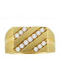1/2ct 3 Row Round Diamond 10k Yellow Gold Mens Ring Band 10.3gram