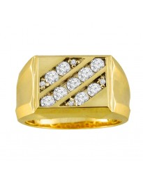 1.00ct 3 Row Round Diamond 10k Yellow Gold Mens Ring Band 7.1gram