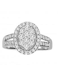 1.00ct Round Diamond 10k White Gold Halo Oval Cluster Split Shank Ring