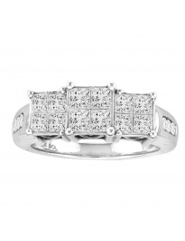 1.00ct Princess Cut Diamond 14k White Gold 3 Stone Engagement Quad Ring