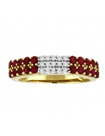 1.03ct Round African Ruby & Diamond 14K Yellow Gold 2 Row Band Ring