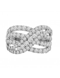 1.50ct Round H/SI Diamond 14k White Gold Multi Row Cocktail Band Ring