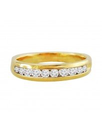 14k Yellow Gold Mens Comfort Fit 1/2ct Round Diamond Channel Wedding Band Ring
