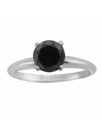 1.00ct Genuine Round Black Diamond 14k White Gold Solitaire Engagement Ring