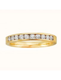 0.33ct Ladies Channel Set Round Diamond 18k Yellow Gold Wedding Band Ring