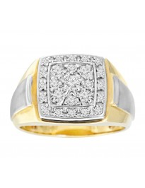 10k Two Tone Gold 1/2ct Round Brilliant Diamond Cluster Men Ring Size 10