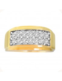 1.00ct 2 Row Round Diamond 10k Yellow Gold Mens Wedding Ring Band Size 10