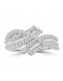 1.00ct Round & Baguette Diamond 14k White Gold Crossover Fancy Band Ring