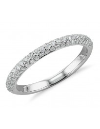 14k White Gold 0.75ct Diamond 3 Sided Micropavé Wedding Band Anniversary Ring