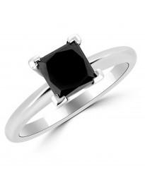 1.50ct Princess Cut Black Diamond 14k White Gold Solitaire Prong Ring